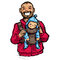 Stock Image : Cartoon vector illustration father with baby son in carrier pouc