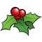 Stock Image : Cartoon vector shiny holli mistletoe christmas ornament with bla