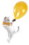 Stock Image : Cat kitten flying with a golden balloon