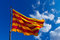 Stock Image : Catalonia Flag on Blue Sky