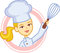 Stock Image : Bakery Logo with Girl Chef Character Design