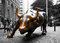 Stock Image : Charging Bull on Wall Street