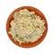 Chicken Salad Clay Dish. Looking down at a small serving of chicken salad in a clay dish