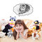 Stock Image : A Child Girl With Toy Cats Dreaming of a Real Cat