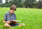 Stock Image : Child reading book outdoor