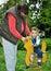 Stock Image : Child sitting on wooden horse