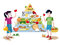 Stock Image : Children and food guide pyramid