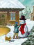 Stock Image : Children and snowman