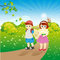 Stock Image : Children on walk in the summer