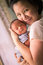 Stock Image : Chinese Asian Malaysian mother and her newborn infant baby boy