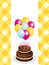 Stock Image : Chocolate birthday cake and balloons