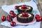 Stock Image : Chocolate dessert with cherries