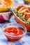 Stock Image : Chops, ketchup, onion, mustard and salad