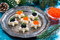 Stock Image : Christmas appetizers with caviar on a plate