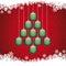 Stock Image : Christmas balls tree snowflake red background