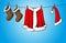 Stock Image : Christmas costume on clothesline