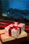 Stock Image : Christmas gift box with red ribbon