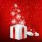 Stock Image : Christmas gift box with shiny snowflakes