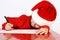 Stock Image : Christmas helper child writing letter to Santa Cla