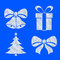 Stock Image : Christmas objects icons made of snow on blue set