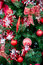 Stock Image : Christmas red balls decorations on Christmas tree