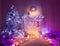 Christmas Room Fireplace Tree Lights, Xmas Interior Home Decor