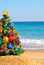 Stock Image : Christmas tree on sand in the beach