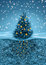 Stock Image : Christmas tree in snowfall, roots in soil beneath