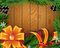 Stock Image : Christmas tree, yellow bow and ribbons