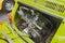 Stock Image : Chromed engine of a vintage Fiat 500