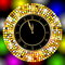 Stock Image : Clock on a bright christmas background with gold spangles