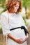 Stock Image : Close up portrait pregnant woman