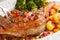 Stock Image : Close uproasted turkey leg being sliced- christmas dish