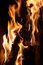 Stock Image : Closeup of burning firewood in fireplace
