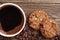 Stock Image : Closeup coffee and chocolate cookies