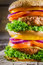 Stock Image : Closeup of tasty homemade big burger
