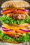 Stock Image : Closeup of tasty homemade big hamburger