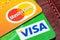 Stock Image : Closeup of Visa and Mastercard credit cards.