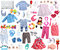 Stock Image : Clothes and accessories for baby boy and girl