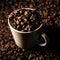 Stock Image : Coffee Beans in White Ceramic Mug