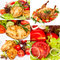 Stock Image : Collage of photos grilled chicken with vegetables