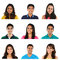 Stock Image : Collage of young Indian/Asian men and women portraits.