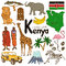 Stock Image : Collection of Kenya icons