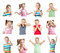 Stock Image : Collection of kids with different emotions isolated on white bac