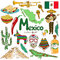 Stock Image : Collection of Mexico icons