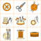 Stock Image : Collection of needlework, knitting, sewing icons (vector illustration)
