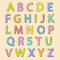 Stock Image : Colored alphabet letters with bloated outline