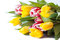 Stock Image : Colorful bouquet of fresh spring tulip flowers
