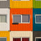 Stock Image : Colorful cargo containers used as home by students