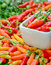 Stock Image : Colorful fresh  peppers in white bowl